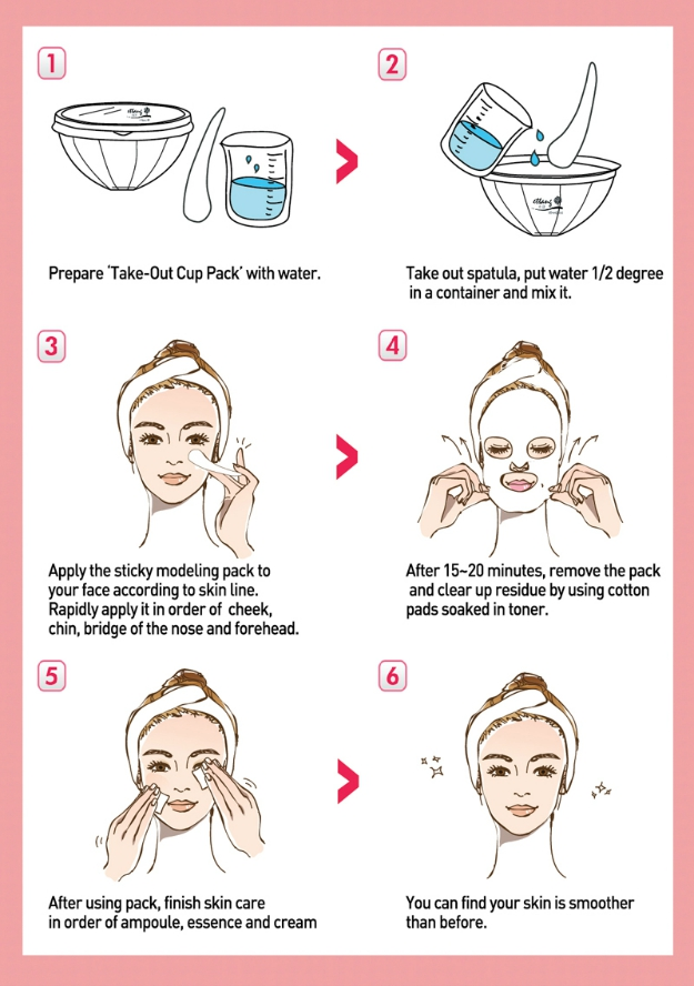 Korean modeling masks, Korean spa treatments, Korean rubber masks, Korean Rubber Modeling Mask Do's & Don'ts, illustrated via Ettang Modeling Take-Out Cup Packs, Lindsay Modeling Masks, Shangpree modeling masks, Glow Recipe, Peach and Lily, Memebox,