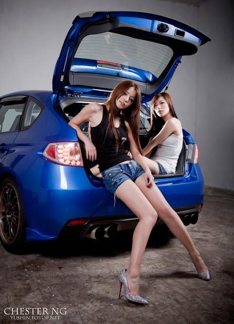 Stunning Car Pretty Girls With Subaru Impreza Wrx Sti