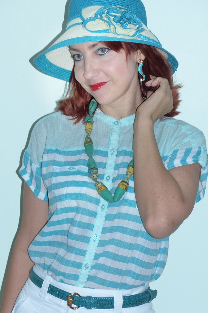 Nautical theme outfit accessorized with sea horse earrings