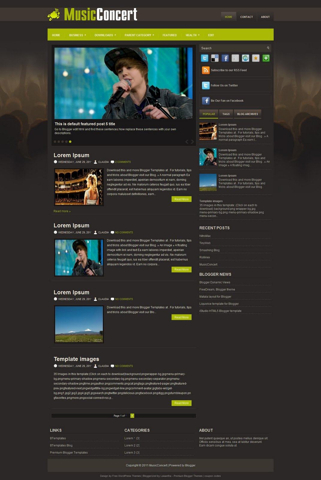 Best Music Blog Templates Images Top Magazine Blogger Template