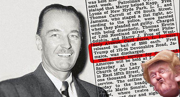 Fred Trump: The father of Donald Trump was arrested for brawling with police at a Ku Klux Klan rally.