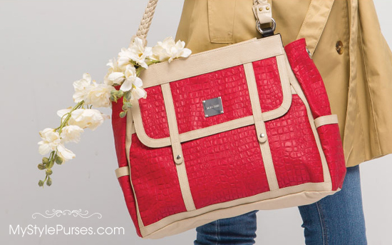 Miche Rochelle Prima Shell is one of the new fire-engine red croc Shells
