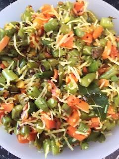 Hurlikayi Carrot Palya / Green Beans Carrot Sabzi