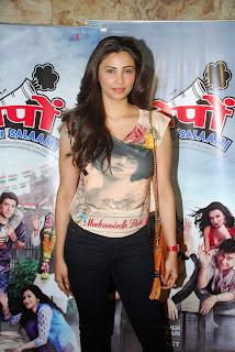Daisy Shah Chest Print T Shirt with Claudia Ciesla Neha Dhupia and Others at Ekkees Toppon Ki Salaami Screening