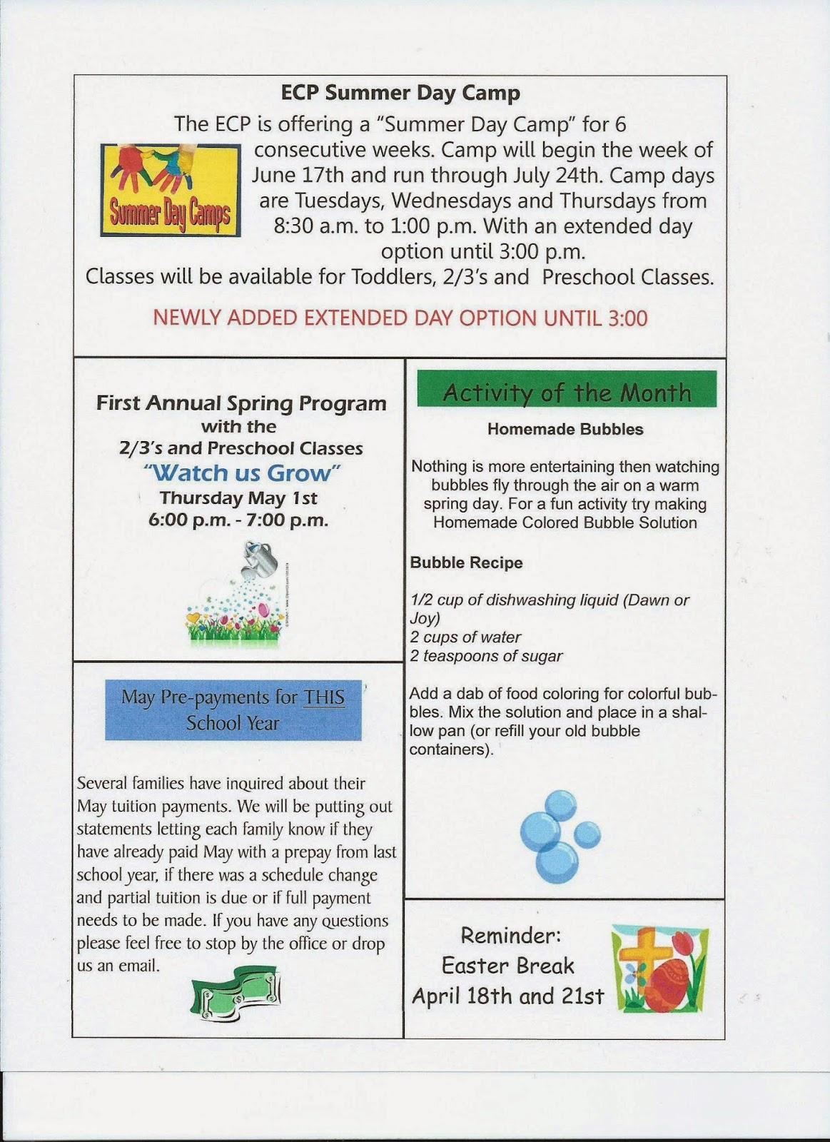 preschool april newsletter fairview early childhood program april newsletter 2014 477