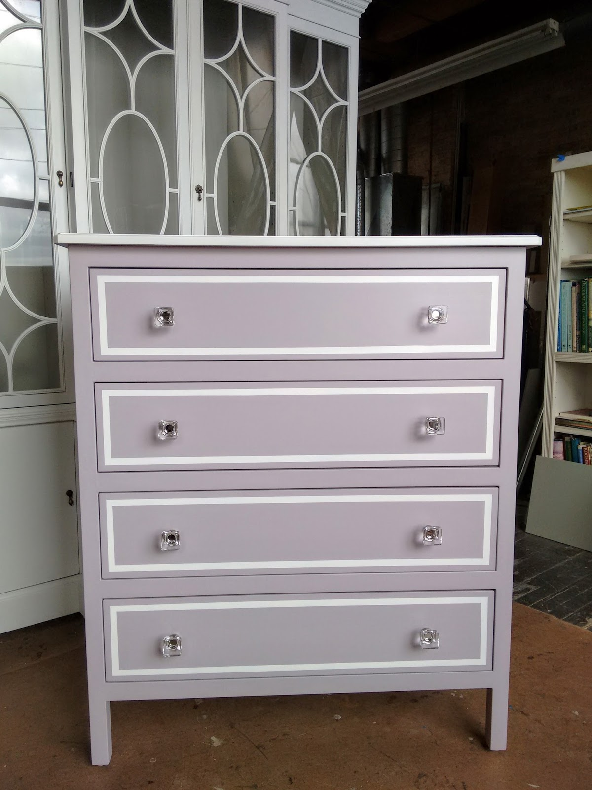 Lavender 4 Drawer Chest With White Accents