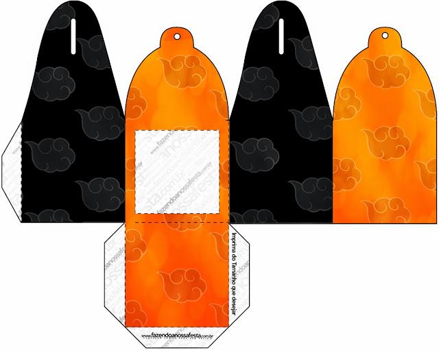 Caja para cupcakes o golosinas de Naranja y Negro con Nubes.