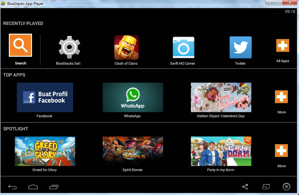 Tampilan Bluestacks di Komputer