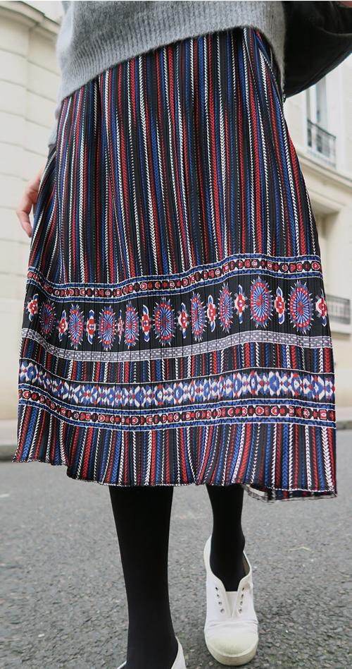Ethnic Patterned Midi Skirt