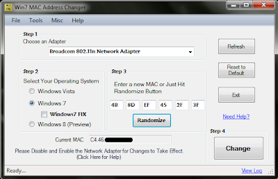 Win7 MAC Address Changer
