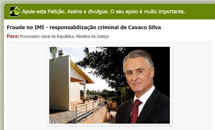 Petição para a responsabilização criminal de Aníbal Cavaco Silva