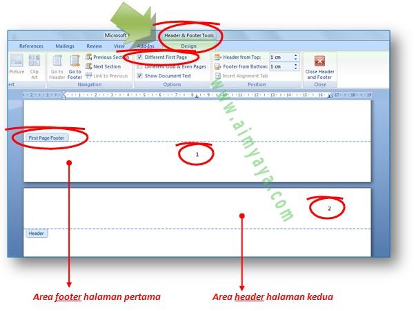 Gambar: cara menyisipkan nomor halaman pertama berbeda dengan halaman kedua di Microsoft Word