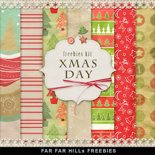 Freebies Kit of  Background - Christmas Day
