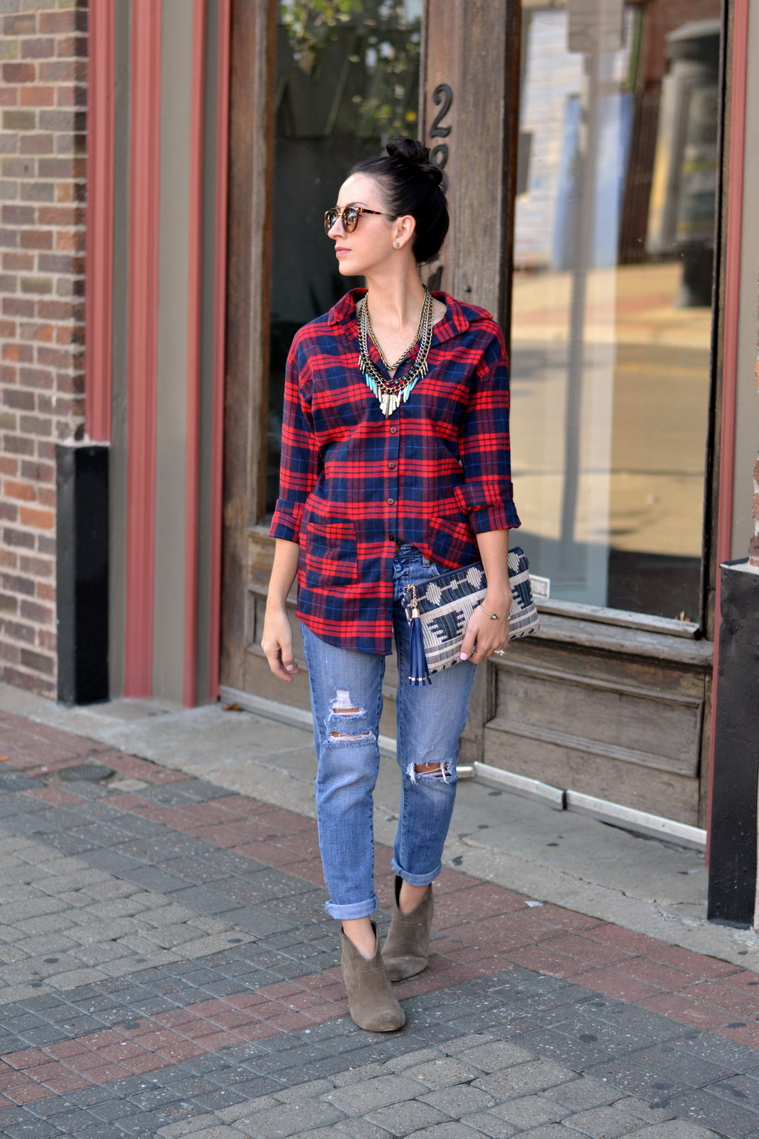 Flannel, Distressed Denim, Bauble Bar, Aztec Clutch, Top Knot