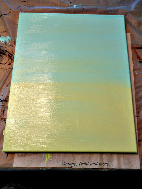 Vintage, Paint and more... DIY Dorm Art - 2nd step of the painted canvas