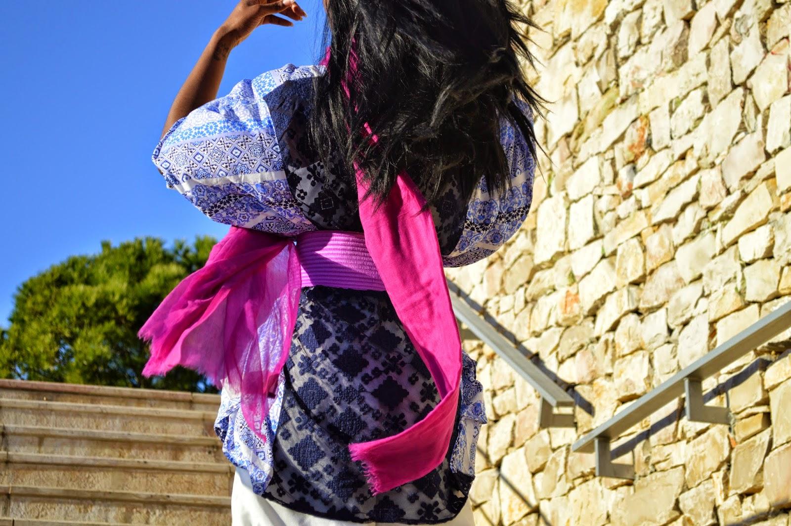 kimono new look, foulard, combinaison forever 21, ceinture