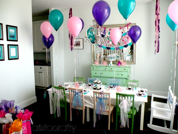 This little table and chair set-up is a birthday tradition at our house. We move out our dining table and bring in this. I think it\u0027s so cozy and quaint for ... & Aristocrafty: Mermaid Birthday Party