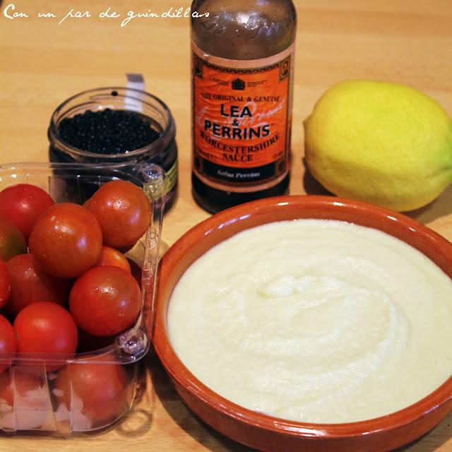 Ingredientes para la verrine de brandada con caviar