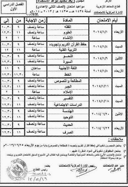 جدول امتحانات الصف الثانى الاعدادى الازهرى 2014 بعد التعديل