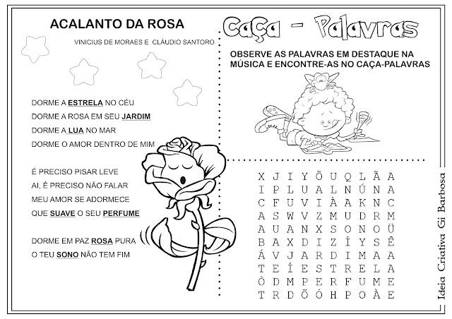 Caça-palavras Obra Vinícius de Moraes Acalanto da Rosa