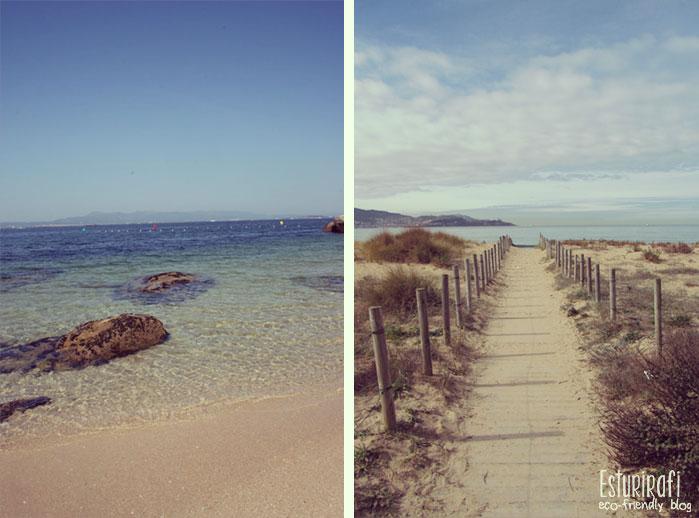 Izquierda fotografía de una playa en el Grove. Derecha playa América.