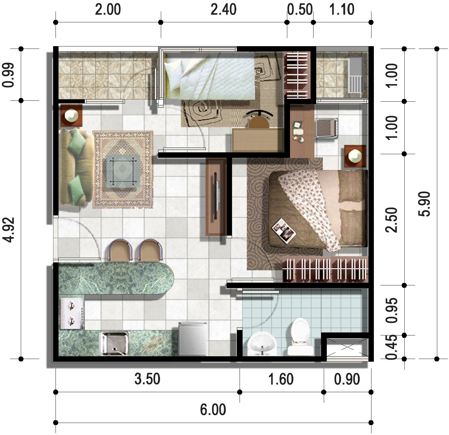 Apartemen paragon square for Design apartemen 2 kamar tidur