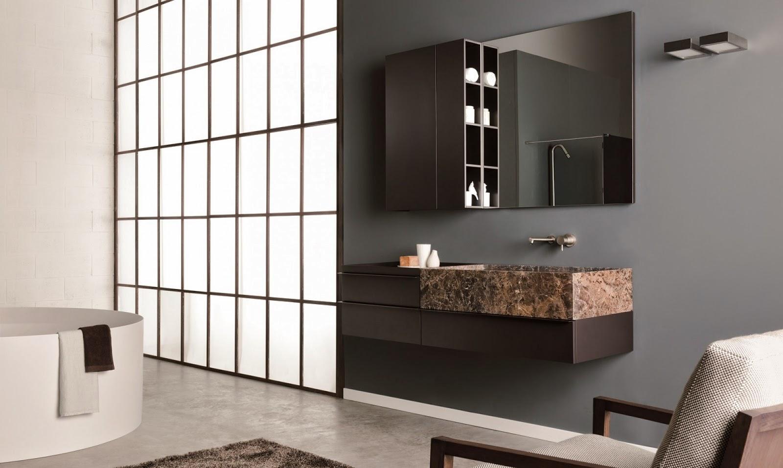 Lựa chọn khác với chiếc chậu rửa cẩm thạch nâu, truyền tải cảm giác ấm áp và sang trọng