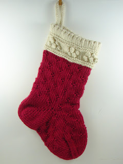 hand knit stocking wool roving red cream  white
