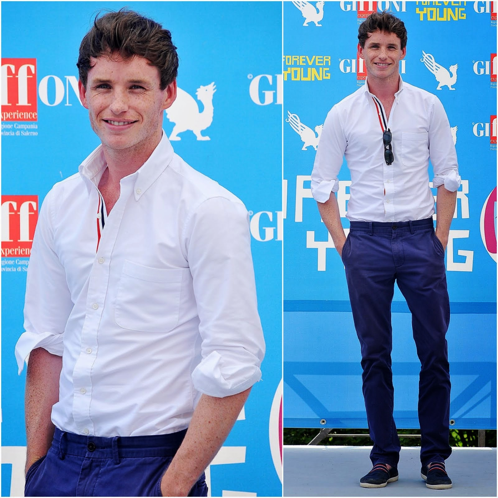 00O00 Menswear Blog: Eddie Redmayne in Thom Browne MEN'S RWB RED WHITE BLUE PLACKET BUTTON-DOWN OXFORD SHIRT- 2013 Giffoni Film Festival July 2013