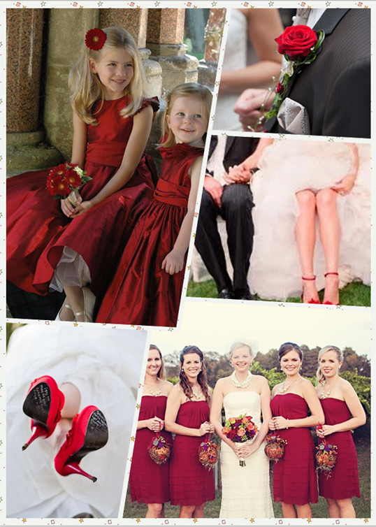 red wedding bridesmaid dresses flower girl dresses