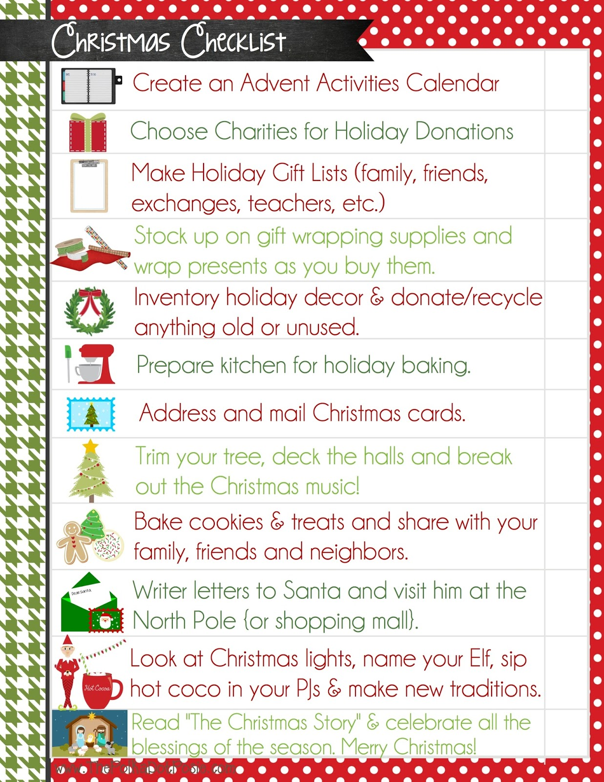 The Polka Dot Posie ChristmasBinderPrintables 019 All P4html Christmas Checklist  Template Christmas Checklist Template