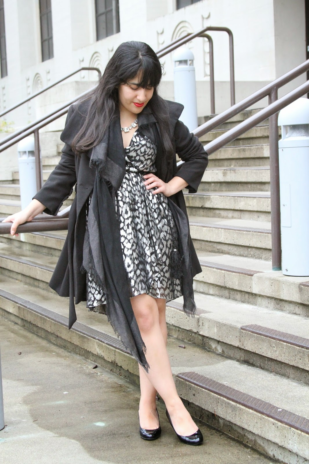 Black Coat and Leopard Print Dress