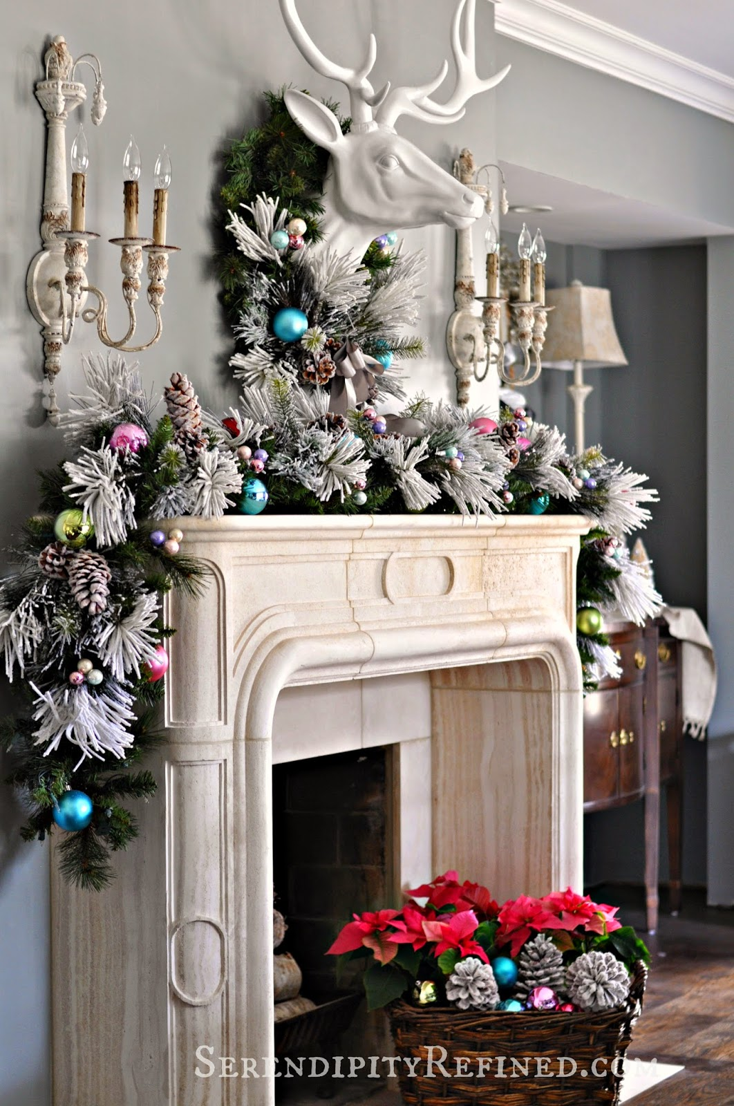 Serendipity refined blog frosty pastel dining room for Images of fireplace mantels decorated for christmas