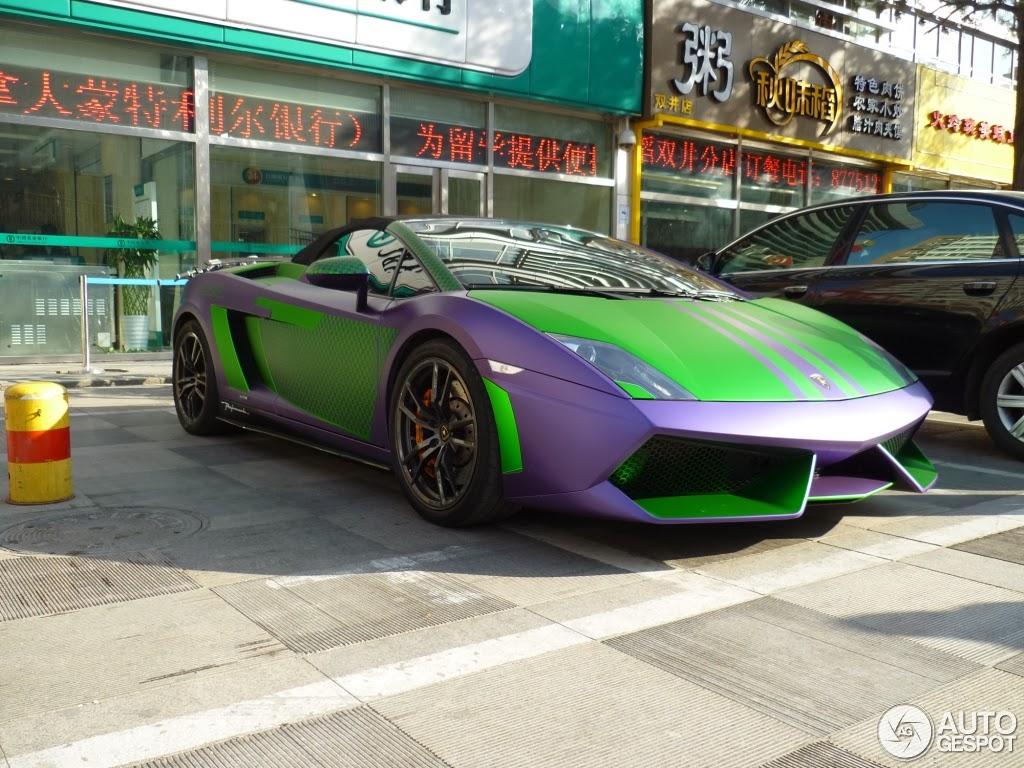 matte purple and green lamborghini gallardo spyder performante in china - Lamborghini Gallardo Spyder Green