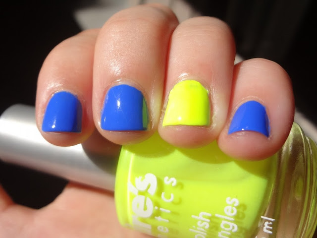 Sally Hansen Pacific Blue and a pop of neon yellow