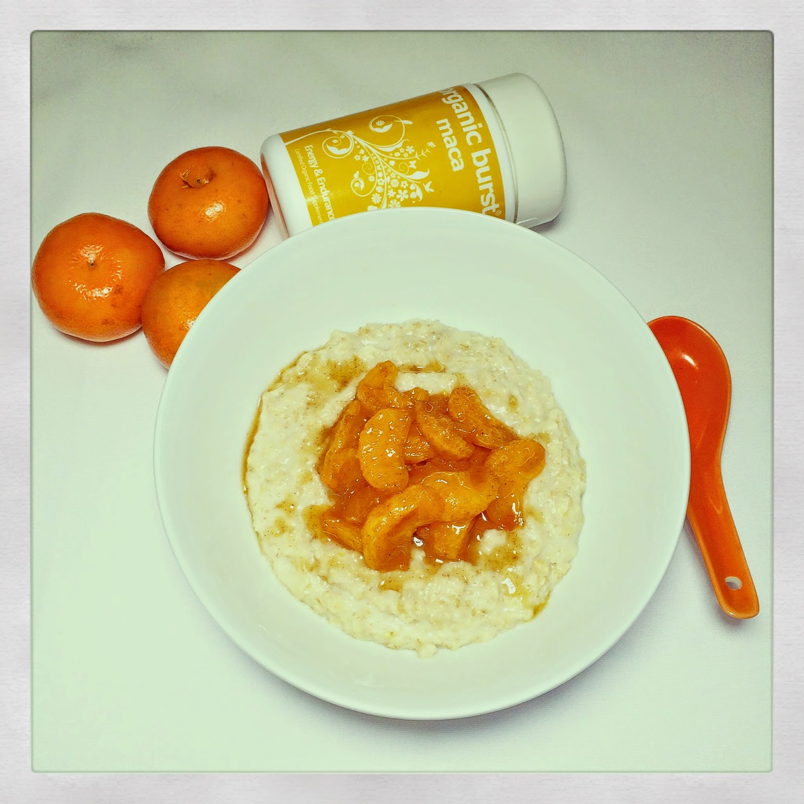Maca oatmeal with spiced caramelised mandarins gluten free dairy free vegan raw