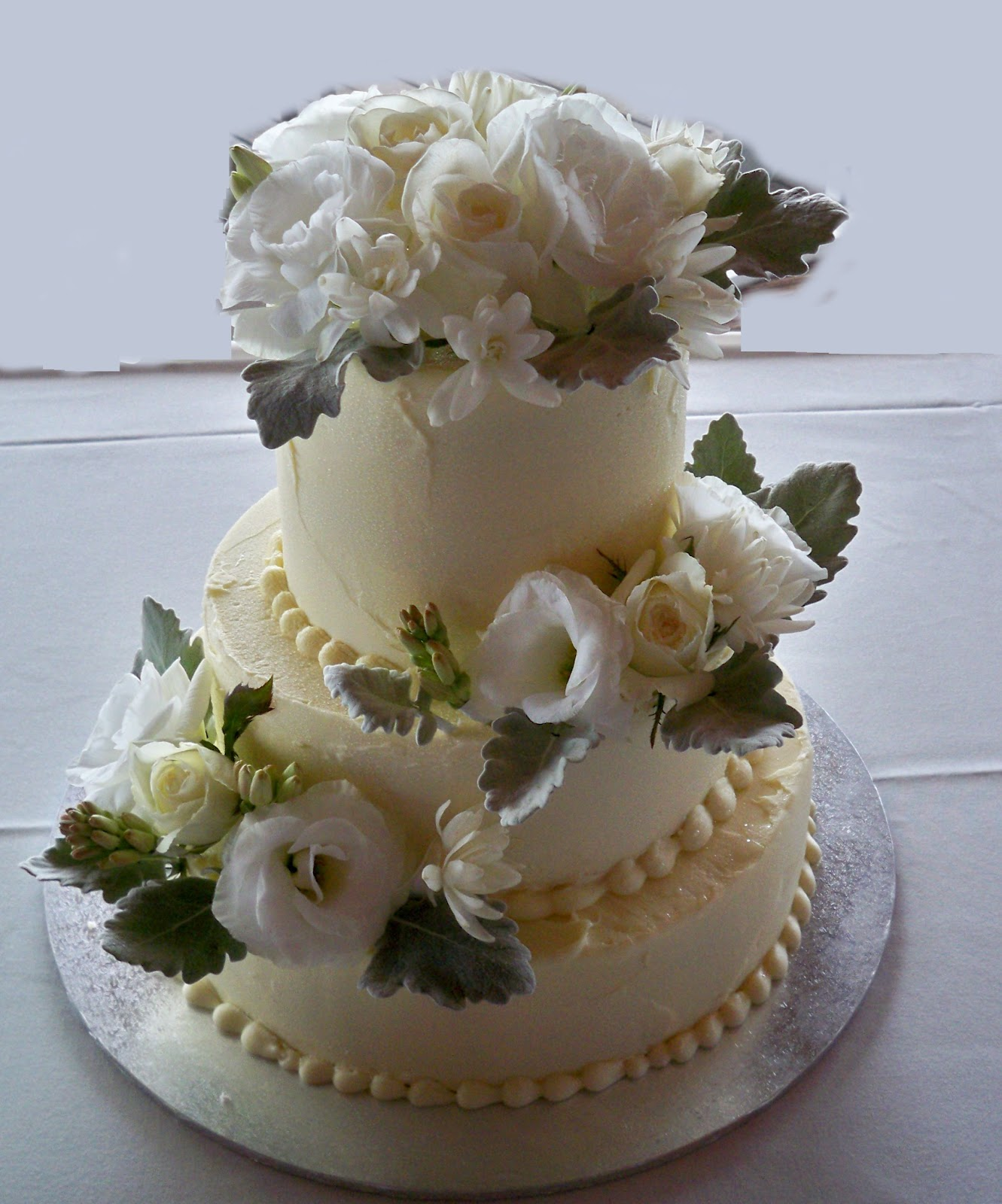 Simple 3 Tier Chocolate Ganache Iced Wedding Cake With Fresh Flowers