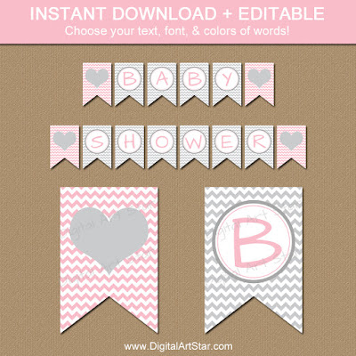 pink & gray chevron baby shower banner printable