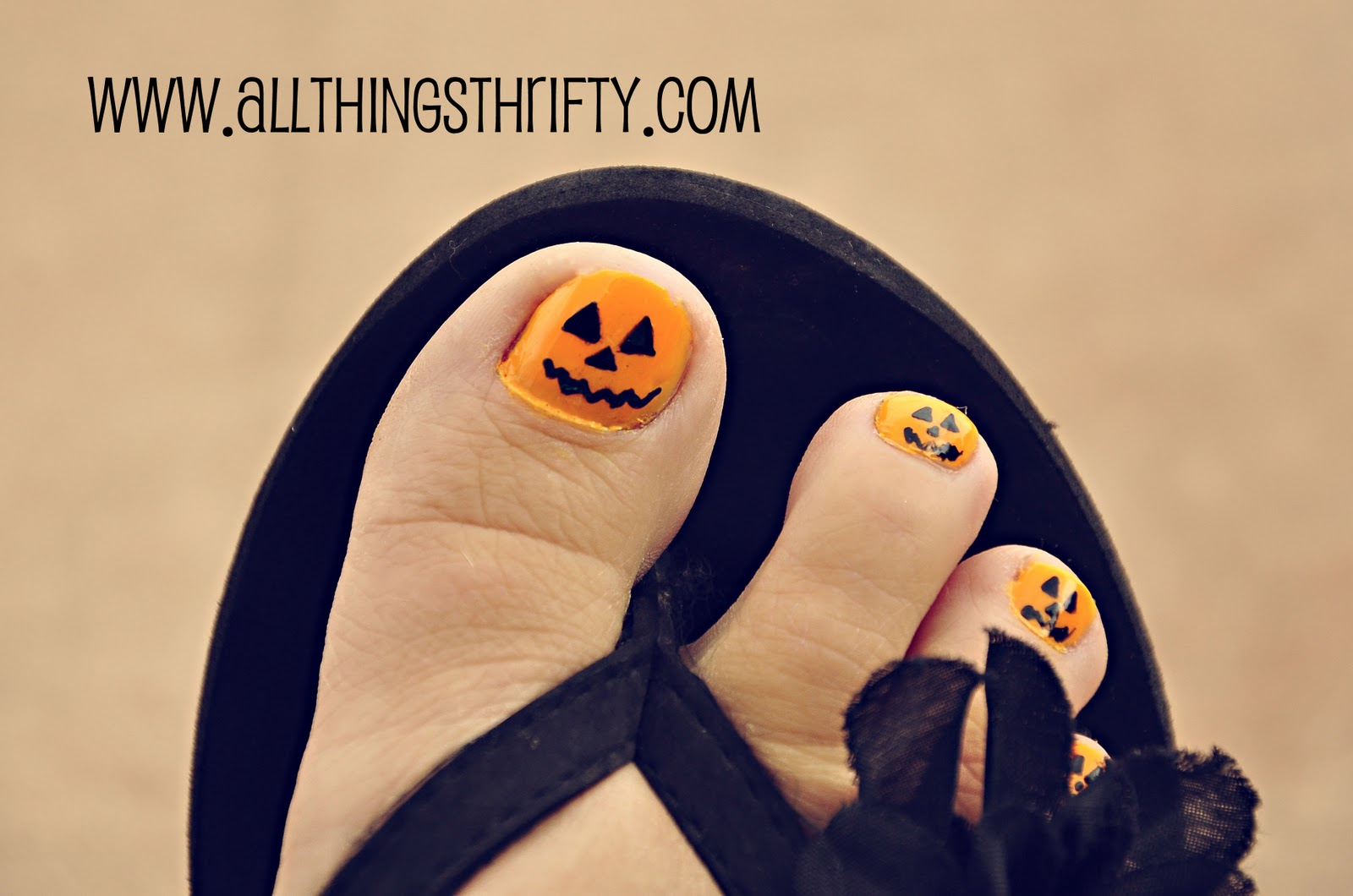 Jack-o-Lantern Pedicures for Short Little Girls' Toes