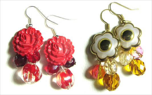 Earrings have red and gold flower buttons with red and yellow Fire Polished Czech Beads