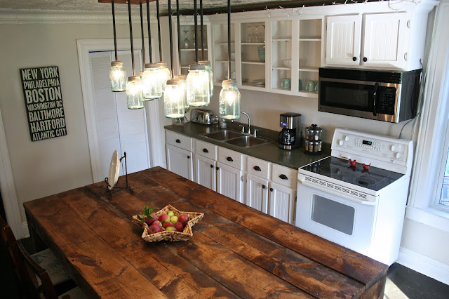 Mason Ball Jar Light and Rustic Island - Kitchen Renovation Makeover Progress - Before and After!