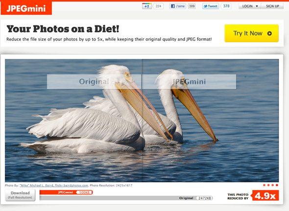compresser les photos en ligne avec jpegmini com