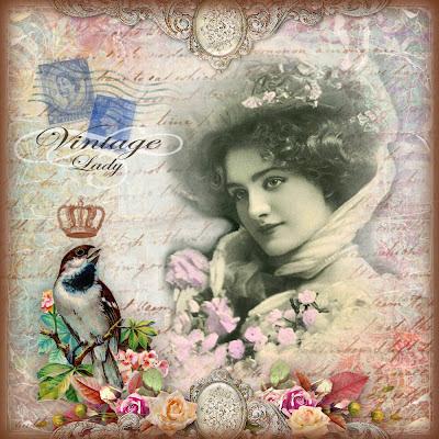 fondo victoriano con dama, rosas y pájaro