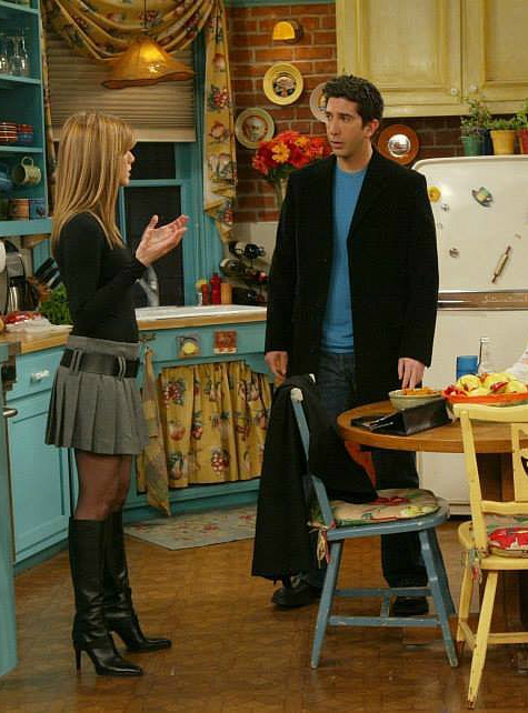 look de rachel green mini saia