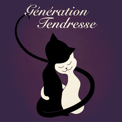 Génération Tendresse original idea - music cover with illustration of two cute cats in a hug