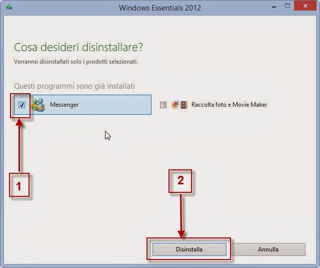 Rimozione di Windows Live Messenger