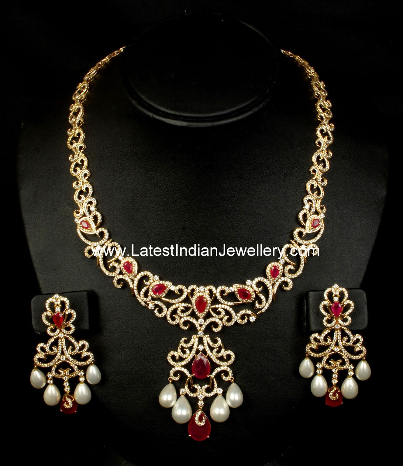 Designer Diamond Ruby Bridal Set