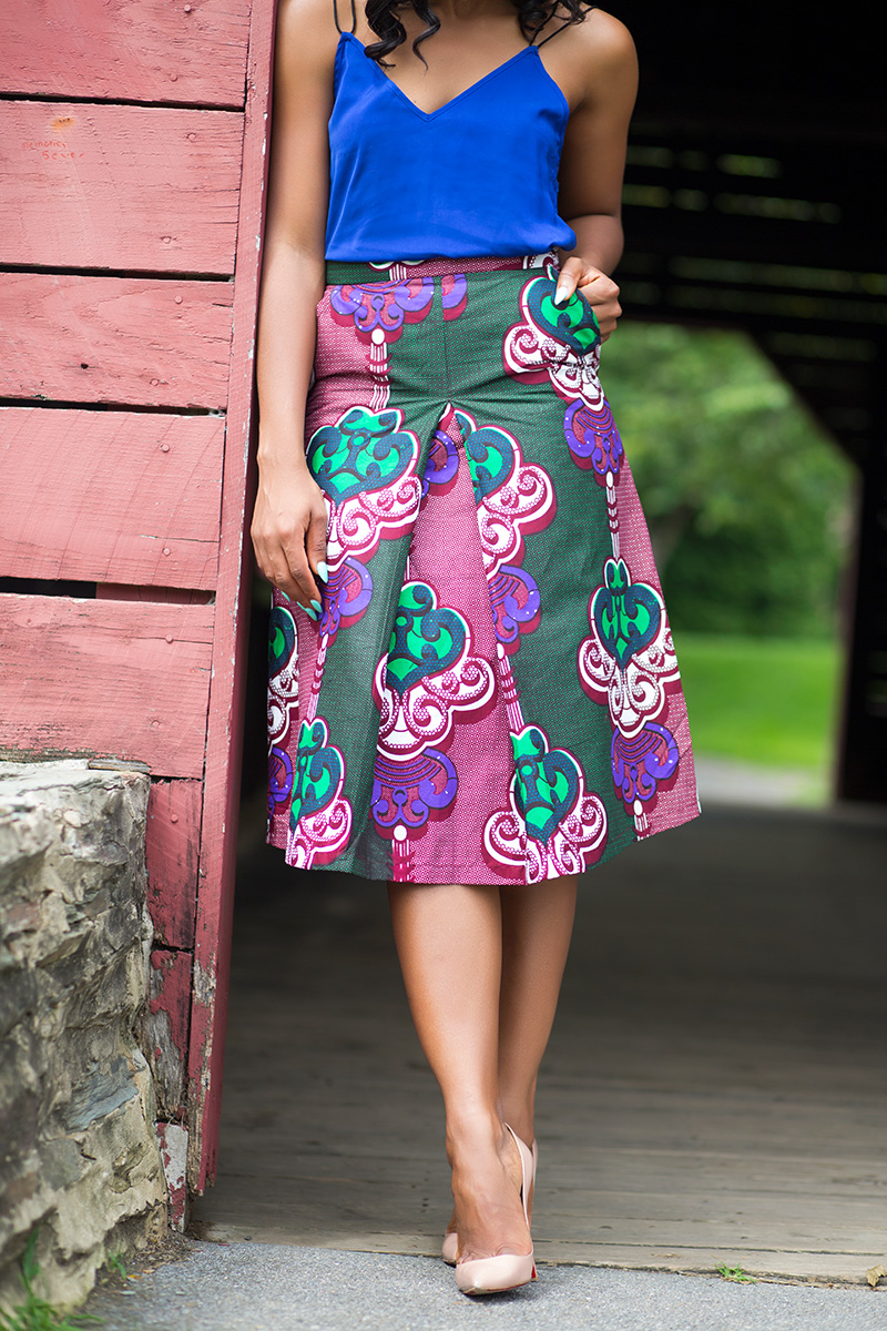 Ankara print skirt and Christian Loboutin