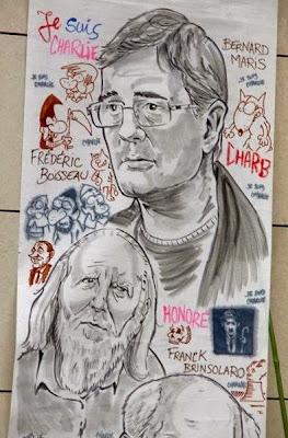 Fresque en hommage aux dessinateurs - attentat Charlie ©Guillaume Néel