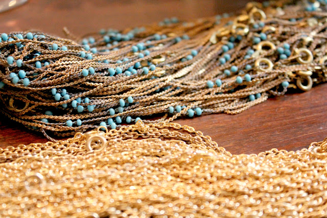 vintage brass and gold chain with turquoise beads